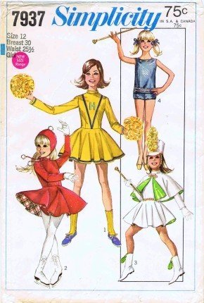 Costumes Majorette Uniforms - Simplicity 7937 Vintage Sewing Pattern Girls Cheerleader Majorette Skating Costumes Size