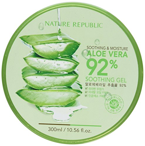 Nature Republic New Soothing & Moisture Aloe Vera 92% Gel, 10.56 Fl Oz Organic Soothing Gel