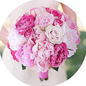 Tokyo Cold New Handmade Peony Artificial Bride Bouquet Pink & hot Pink Peony Holding Flowers Bridesmaids Pink Peony Bouquet Bridal 106