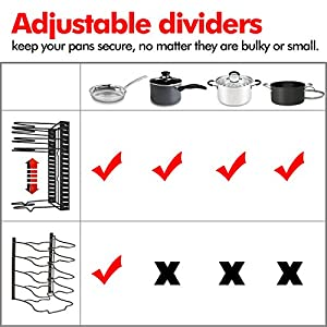 Height Adjustable Pan Organizer Rack, VDOMUS Pan and Pot Lid Holder Black Metal