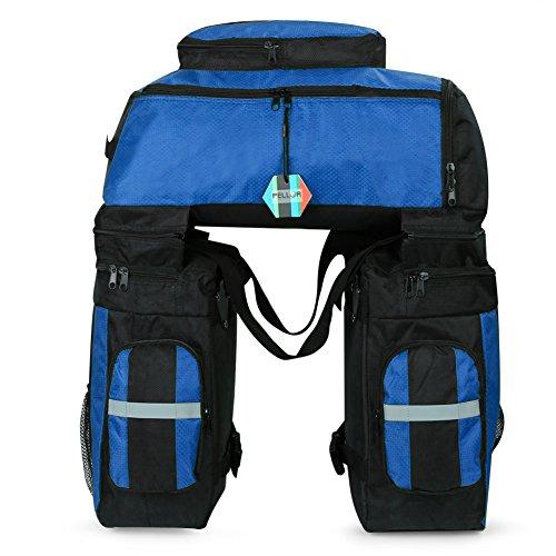 Pellor 70L MTB Bike Waterproof 3 in 1 Rear Bicycle Bag Pannier Bags Bike Rack Bag With Rain Cover (Blue)