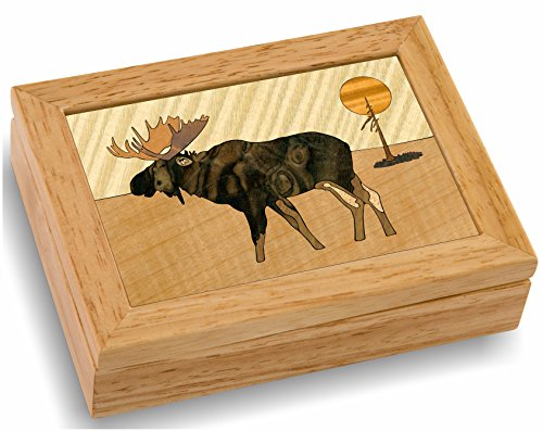 - MarqART Moose Wood Art Box - Handmade USA - Trinket Jewelry Boxes & Gift - Unmatched Quality - Unique, No Two are The Same - Original Work of Wood Art (#4108 Moose Scene 4x5x1.5)