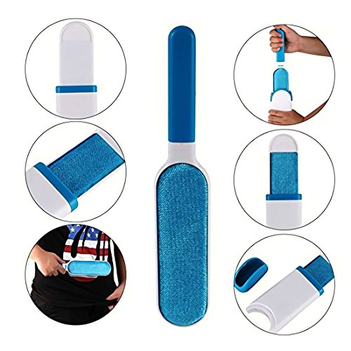 COZY HOMY Reusable Professional Pet Fur Hair Brush Lint Remover Reusable Self Cleaning For Clothing, Furniture with Self-Cleaning Base Double-Sided Brush Removes Dog & Cat Hair by COZY HOMY