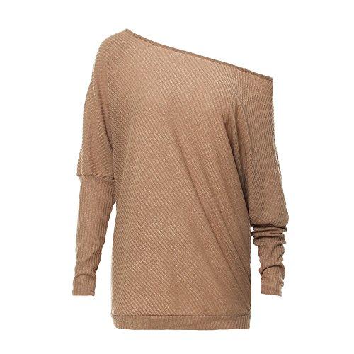 Spalline Pullovers Donna Lunghe Cachi Senza Maglietta Maniche Tops BAINASIQI Maglione Elegante Sweatshirt Maglia Felpa 8wvnFBq