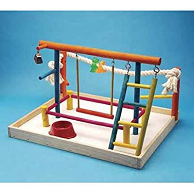 Penn Plax Wood Bird Playpen, Parrot Playstand Bird Playground Perch Gym Ladder with Toys Exercise Play by Penn Plax Inc