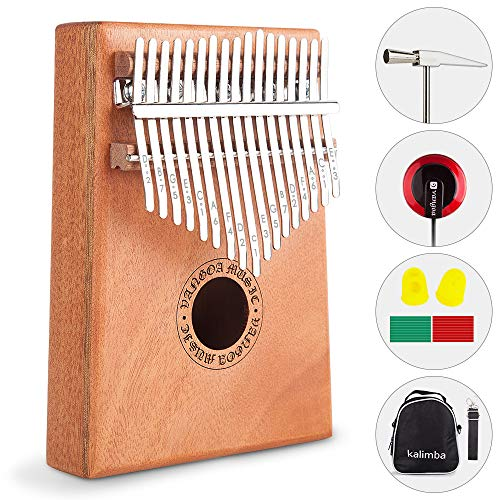 Vangoa Portable Mahogany Kalimba 17 keys African Thumb Piano kit with Rubber Finger Guards, Tuning Hammer, Carry Bag, Cloth bag, Pickup and Key stickers