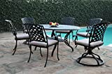 CBM Patio Kawaii Collections Cast Aluminum Garden Furniture 7 Piece Dining Set with 2 Swivel Rockers KLU-168113T CBM1290 Review