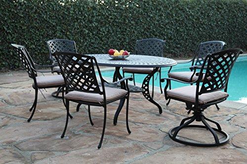 CBM Patio Kawaii Collections Cast Aluminum Garden Furniture 7 Piece Dining Set with 2 Swivel Rockers KLU-168113T CBM1290