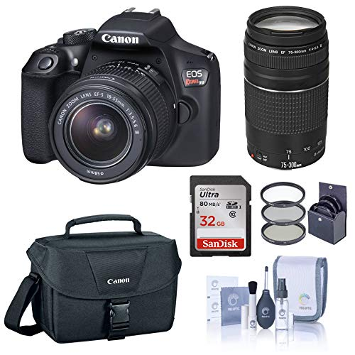 Canon EOS Rebel T6 DSLR Camera with EF-S 18-55mm and EF 75-300mm Lens Bundle with Bag, Filter Pack, 32GB SD Card…