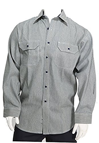 Stripe Button Front Shirt - W S Blue Collar Men's Long Sleeve Button Front Placket, Hickory Stripe Logger Shirt (Large)