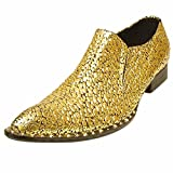 Fiesso Men Gold Leather Pointed Toe Cap Gold Spike Shoe Party Slip on Loafer