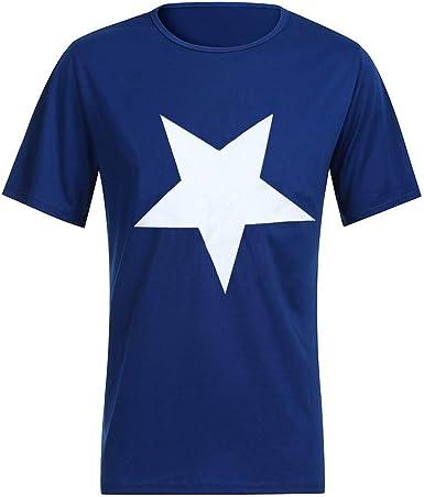 TUDUZ Camisetas Hombre Manga Corta Estampado De Estrellas Camisas del O-Cuello Tops: Amazon.es: Ropa y accesorios