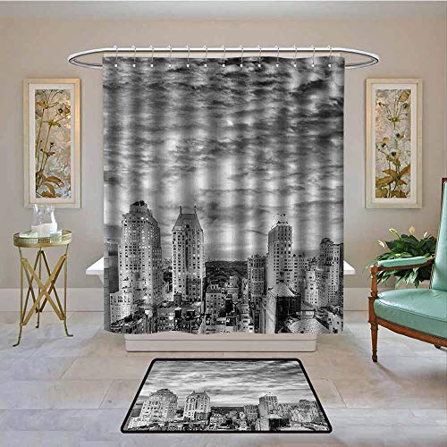 Kenneth Camilla01 Waterproof Shower Curtain Black and White,Skyline Rooftop View of New York in Cloudy Day Panoramic Bust Cityscape,Black White,Bathroom Curtains for Shower with Hooks Set 72