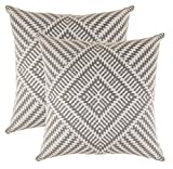 Decorative Pillow Cover - TreeWool, Soft Cotton Kaleidoscope Accent Decorative Throw Pillowcases (2 Cushion Covers; 18 x 18 Inches; Sleet Grey & White)
