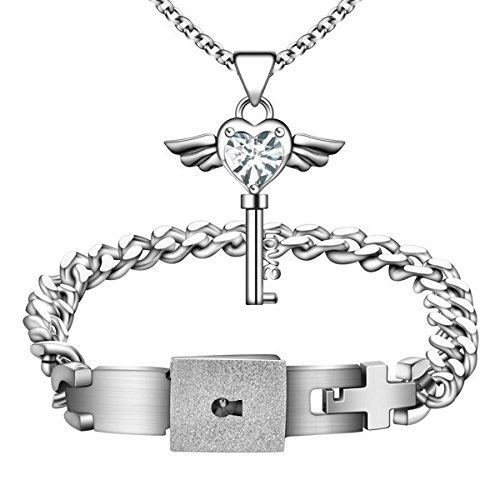 Mens Lock Bracelet Women Angel Wing Necklace Couple Gift