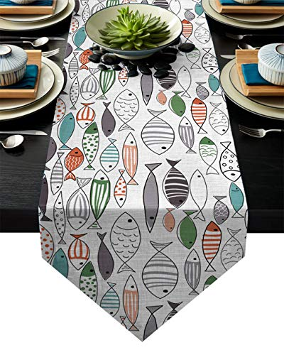 BetterDay Cotton Linen Table Runner Cute Cartoon Fish Decoration 14x72 Inch Burlap Table Runners for Party Wedding Dining Farmhouse Outdoor Picnics Table Top Decor