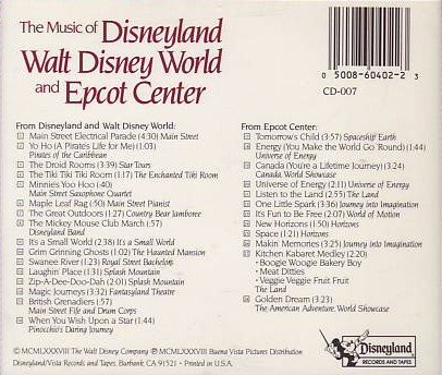 The Music of Disneyland: Walt Disney World and Epcot Center by Disneyland Records and Tapes