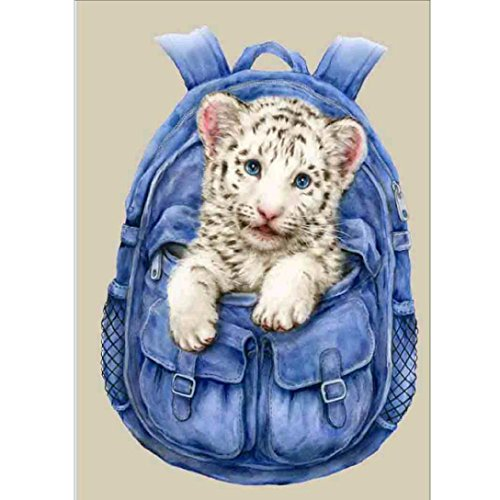 Sttech1 DIY Oil Painting for Adults Kids Paint By Number Kit Bag Tiger Panda Wonderland Flower Diamond Embroidery Painting (B:30x40cm)