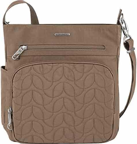 286e55464 Travelon Anti-Theft Quilted North South Bag - Medium Nylon Crossbody for  Travel & Everyday