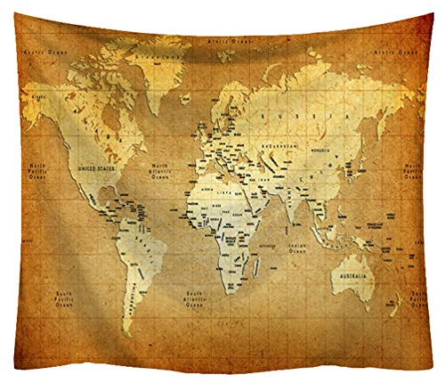 (ZebraSmile High Definition Printing Thick Retro Microfiber World Map Tapestry Antique Fade Resistant Map Wall Art Decor 59