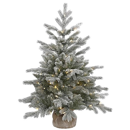 VCO 3' Pre-Lit Frosted Sable Pine Artificial Christmas Tree with Burlap Base - Warm Clear LED ()