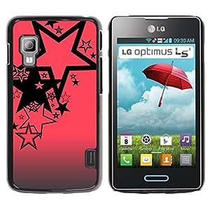 TopCaseStore / la caja del caucho duro de la cubierta de protección de la piel - Pink Black Pattern Abstract Grey - LG Optimus L5 II Dual E455 E460