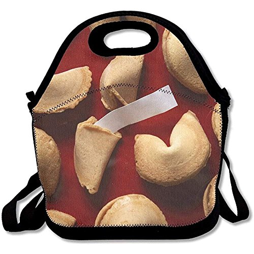 Fortune Cookies On Red Background With White Blank Paper Best Lunch Tote Lunch Bag Outdoor Picnic Reusable
