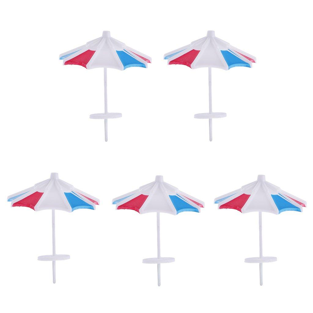 MonkeyJack 5 Pieces Model Sun Umbrella Parasol Train Railway Garden Beach Scenery 1/100 Layout   B0744M8BND