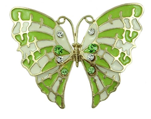 Lilylin Designs Lime Green and White Enamel Butterfly Brooch Pin