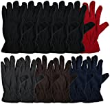 12 Pairs of Winter Fleece Gloves, Unisex, Soft Warm Cozy Sports Glove, Mens or Womens (Womens Assorted)