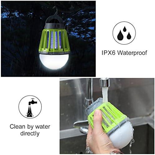 ENKEEO Naranja Linterna Camping Antimosquitos L/ámpara IPX6 Luz UV 360-400nm Bater/ía 2000mAH Recargable Vers/átil P/órtatil Desmontable para Camping Viaje