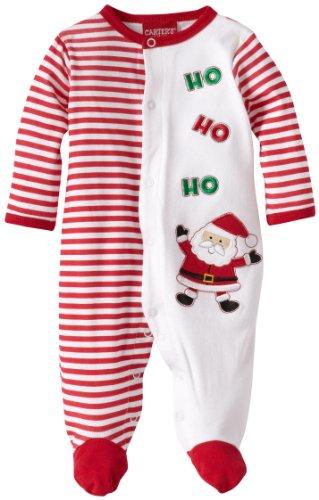 Ho Ho Ho Santa Striped Newborn Footed Sleeper