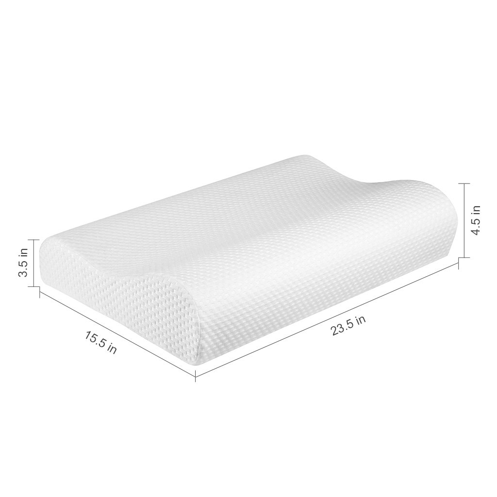 Standard Size Perfect Gift Ideas for Back//Side Sleepers 23.5 x 15.5 LANGRIA Contour Memory Foam Pillow Ergonomic Cervical Design Orthopedic Sleeping Solution Pain//Stress Relief for Neck with Washable Hypoallergenic Knitted Pillowcase
