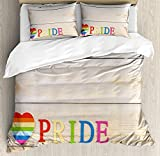 Pride Decorations Twin Duvet Cover Sets 4 Piece Bedding Set Bedspread with 2 Pillow Sham, Flat Sheet for Adult/Kids/Teen, Colorful Striped Heart Sign Love Passion Gay Valentine's with Wood Background