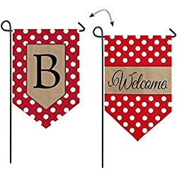 "Evergreen Polka Dot Welcome ""B"" Monogram Double-Sided Burlap Garden Flag - 12.5""W x 18"" H"
