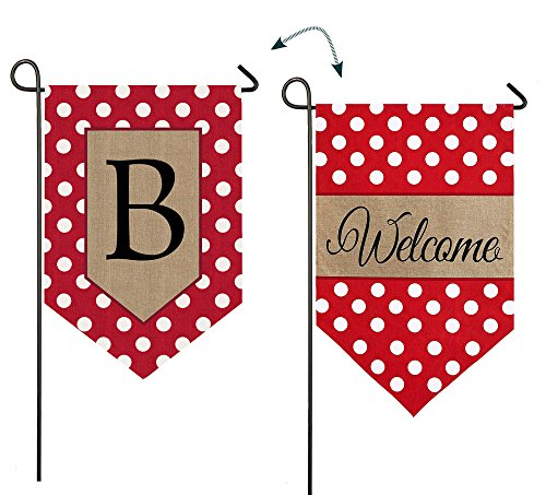 "Evergreen Polka Dot Welcome ""B"" Monogram Double-Sided Burlap Garden Flag - 12.5""W x 18"