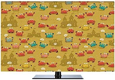 カニの装飾 液晶テレビカバー 北欧風 防塵 汚れ防止 65インチのテレビに適用 装饰布 テレビを見ることができる 防風 子供のテーマの漫画スタイルのカニの貝殻と砂の城 ビーチのプリント