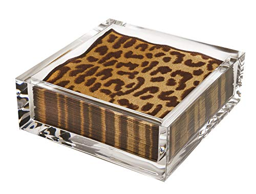 Cocktail Napkin Holder with Paper Napkins Included 40 Zanzibar Leopard Print Party Napkins Refillable ()