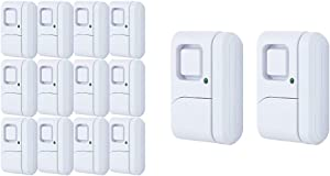 GE Personal Security Window/Door, 12-Pack, White & 45115 Personal Security Window/Door, 2-Pack, DIY Protection, Burglar Alert, Wireless Chime/Alarm, Easy Installation, White, 2 Count