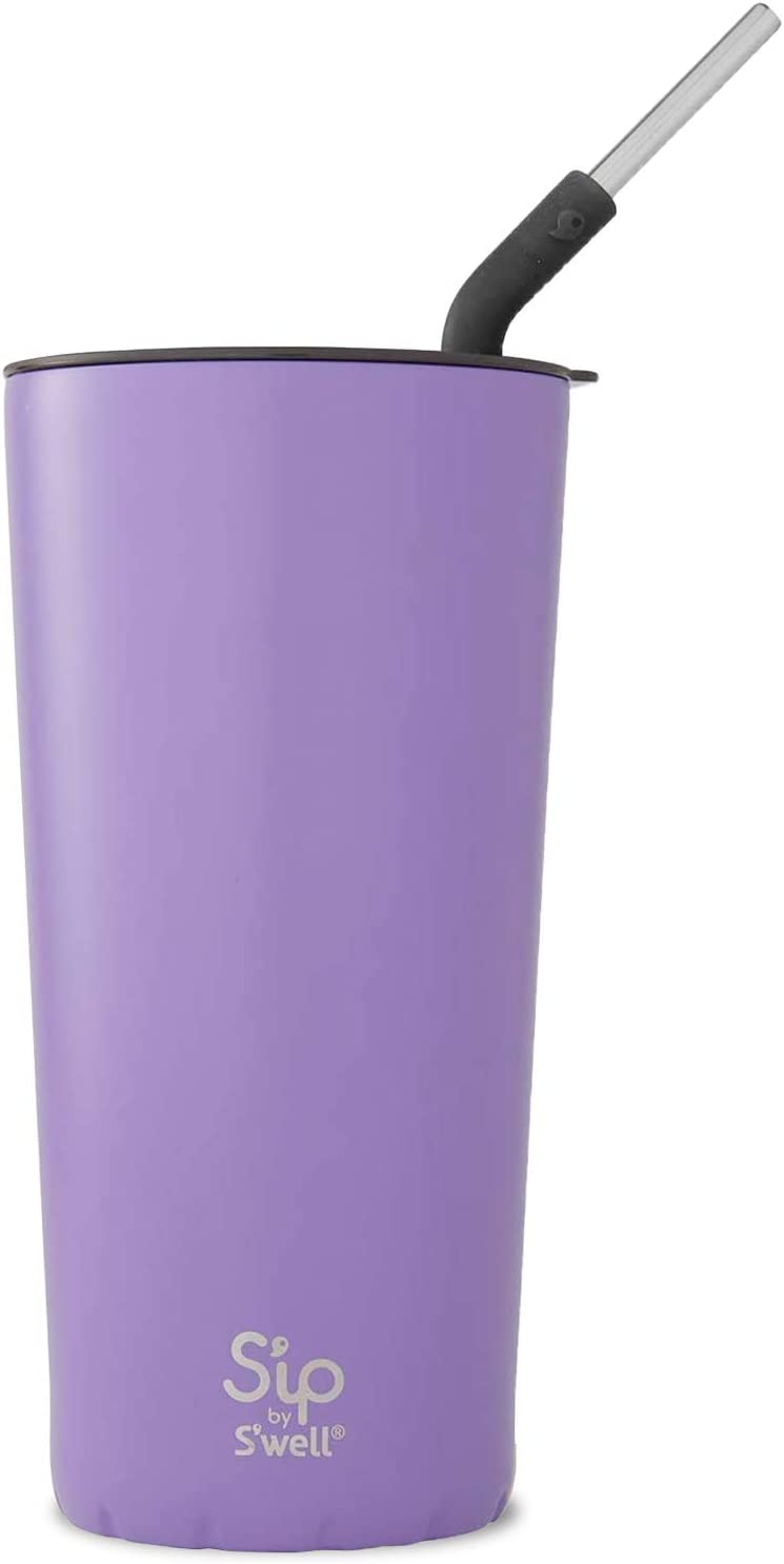 S'ip by S'well Stainless Steel Takeaway Tumbler - 24 Fl Oz - Purple Rock Candy - Double-Layered Vacuum-Insulated Keeps Food and Drinks Cold and Hot - with No Condensation - BPA Free Water Bottle