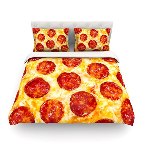 "Kess InHouse KESS Original ""Pizza My Heart"" Pepperoni Cheese Cotton Queen Duvet Cover, 88 x 88"""