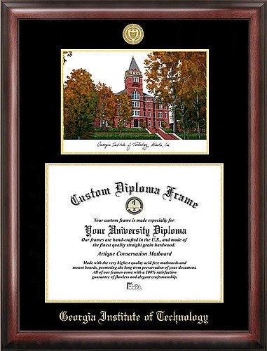 Georgia Tech Yellow Jackets Seal (Georgia Institute of Technology Embossed Gold Foil Seal Graduate Diploma Frame with Imprinted Lithograph)