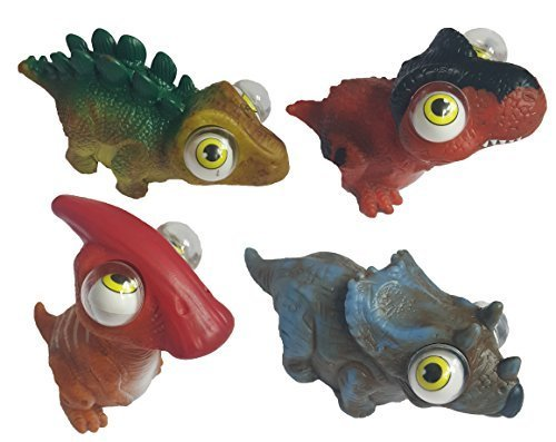 Dinosaur Assortment Squeeze N Pop Toys - Poppin Peepers - 4 Pack Dinos (Eye Squeeze Ball)