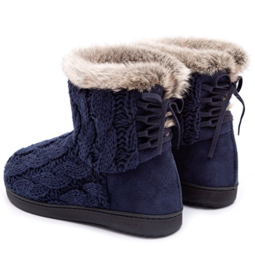 Ultraideas Donna Morbido Filato Cavo Maglia Scarpette Pantofole Memory Foam Scarpe Indoor & Outdoor W / Regolabile Suede Pizzo Blu Navy