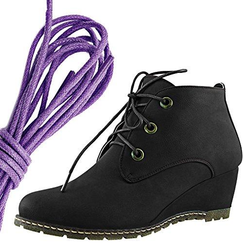 Dailyshoes Femmes Mode Lacer Jusquà Bout Cheville Haute Oxford Wedge Bootie, Violet Noir Pu
