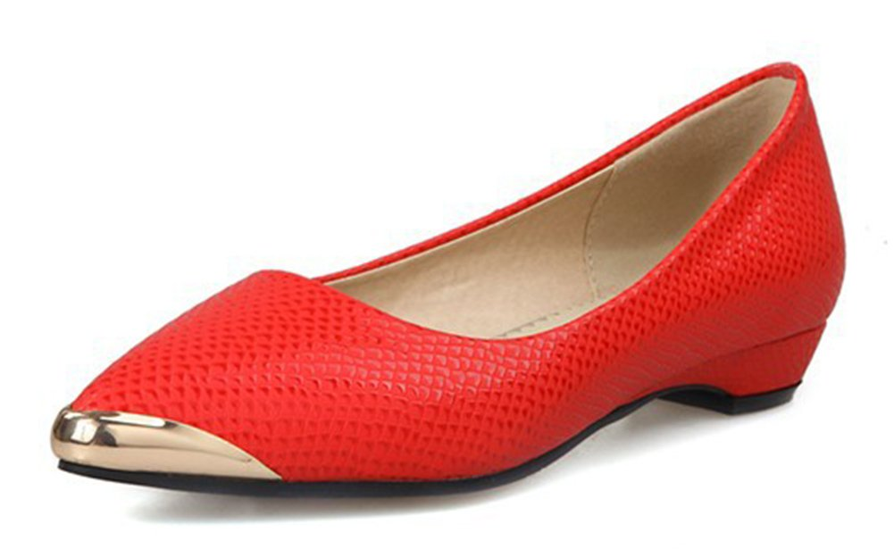 Aisun Women's Simple Low Cut Pointed Toe Professional Wear To Work Office Dress Slip On Flats Shoes B01I3DWXR8 6 B(M) US|Red