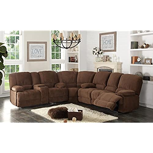 Beau AC Pacific Kevin Collection Contemporary 3 Piece Upholstered Transitional  Sectional Set With 4 Recliners, Storage Console, And Cup Holders, Brown