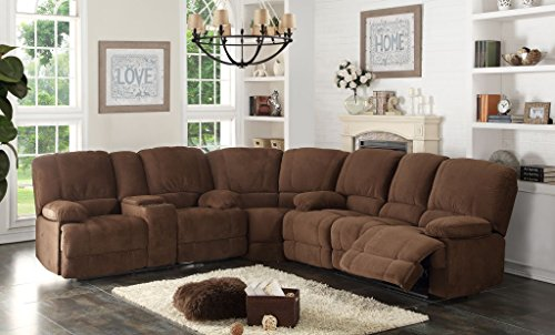lection Contemporary 3-Piece Upholstered Transitional Sectional Set with 4 Recliners, Storage Console, and Cup Holders, Brown ()