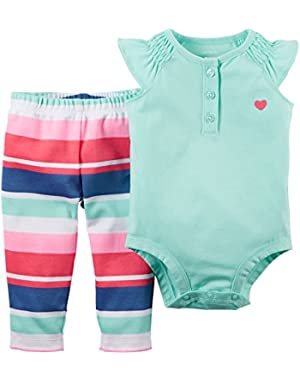 Baby Girls' 2-Piece Bodysuit & Pant Set