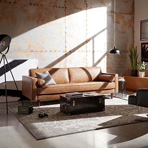 "Rivet Aiden Tufted Mid-Century Modern Leather Bench Seat Sofa, 86.6"" W, Cognac"